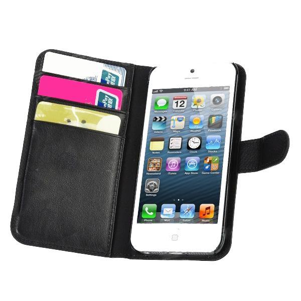 Wallet Flip Case за iPhone 5 -  черен - 3