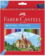 Цветни моливи Faber-Castell - Замък, 48 броя, с острилка