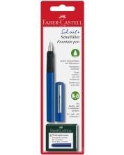 Детска писалка Faber-Castell - Синя, с 6 патрончета -1