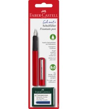Детска писалка Faber-Castell - Червена, с 6 патрончета -1