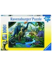 Пъзел Ravensburger от 100 XXL части - Земя на динозаври -1