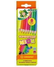 Цветни моливи JOLLY Kinder Neon MIX – 8 цвята