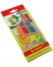 Комплект цветни моливи Jolly Crazy - Двустранни, 12 x 2 цвята