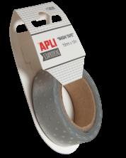 Декоративно тиксо Apli - Washi tape - Сребриста на бели точки
