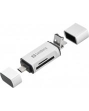 Четец за карти Sandberg -USB-C/USB/MicroUSB, сив -1