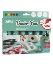 Комплект гел маркери APLI - 6 броя х 25 ml, перлени цветове