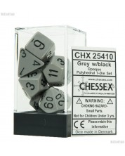 Комплект зарове Chessex Opaque Poly 7 - Grey & Black (7 бр.) -1