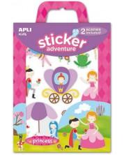 Детска игра със сцени и стикери APLI Kids - Приключения с принцеси -1