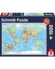 Пъзел Schmidt от 1500 части - Картата на света, на немски -1