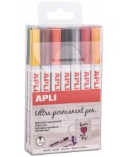 Комплект перманентни маркери APLI - 14 цвята металик, Extra Fine -1