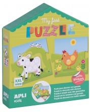 Детска игра Apli - Моят първи пъзел, с 5 домашни животни и стикери -1