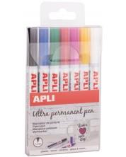 Комплект перманентни маркери Apli - 7 цвята, Extra Fine