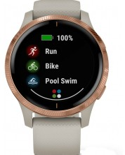 Смарт часовник Garmin - Venu, rose gold, light sand силиконова каишка -1