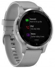 Смарт часовник Garmin - vívoactive 4S, сребрист, powder gray силиконова каишка -1