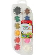 Акварелни боички Optima, 12 цвята, с четка -1