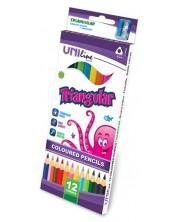 Цветни триъгълни моливи Uniline - 12 цвята, с острилка -1