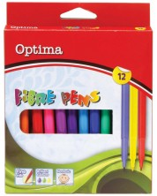 Цветни флумастери Optima - 12 цвята -1