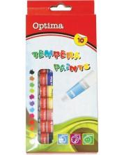 Темперни боички Optima - 10 цвята, с четка -1