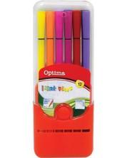 Цветни флумастери Optima - 12 цвята, в кутия -1