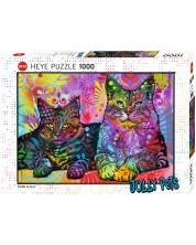 Пъзел Heye от 1000 части - Две отдадени котки, Дийн Русо