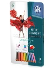 Триъгълни цветни моливи Astra - 12 броя, в метална кутия -1