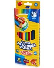 Цветни моливи с гумичка Astra - 12 броя, с острилка -1