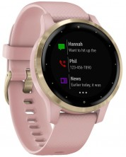 Смарт часовник Garmin - vívoactive 4S, light gold, dust rose силиконова каишка -1