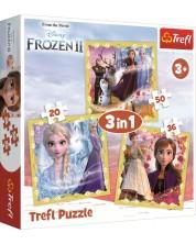Пъзел Trefl 3 в 1 - Силата на Анна и Елза, Frozen 2