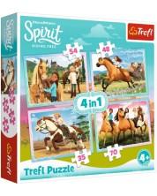 Пъзел Trefl 4 в 1 - Следобедна езда, Spirit Ridding Free