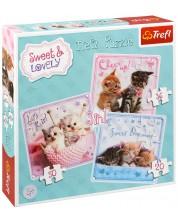 Пъзел Trefl 3 в 1 - Сладки котенца