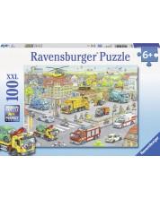 Пъзел Ravensburger от 100 XXL части - Превозни средства в града -1