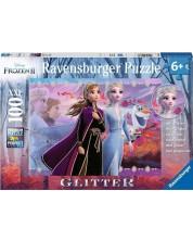 Блестящ пъзел Ravensburger от 100 XXL части - Замръзналото кралство, Силата на сестрите -1