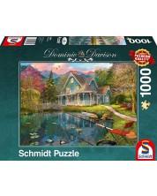 Пъзел Schmidt от 1000 части - Уединена къща край езерото, Доминик Дейвисън