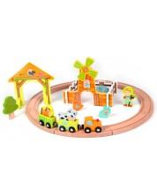 Дървена играчка Classic World - Писта с влак и животни