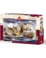 Пъзел Art Puzzle от 1500 части - Корабна война, Алмар Заадстра -1