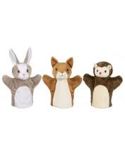 Куклa за ръка Goki - Катерица, заек и таралеж (асортимент)