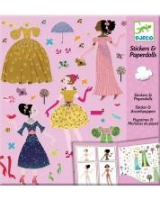 Творчески комплект със стикери Djeco - Облечи куклите според сезона