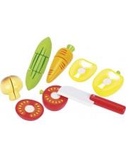 Комплект продукти за рязане Goki - Зеленчуци, 12 части, от дърво