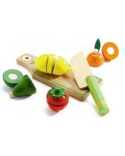 Дървен комплект за рязане Djeco - Плодове и зеленчуци