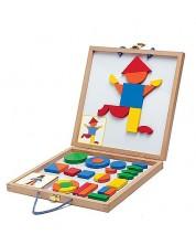 Детска игра с дървени магнити Djeco - Геоформи