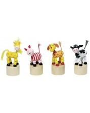 Дървена играчка Goki - Танцуващи животни (асортимент) -1