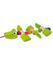 Дървена играчка за дърпане Goki - Крокодил -1