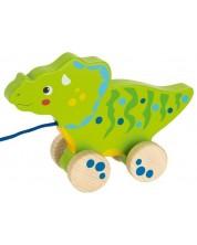 Дървена играчка за дърпане Goki - Динозавър I -1