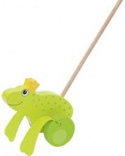 Дървена играчка за бутане Goki - Жабокът принц -1