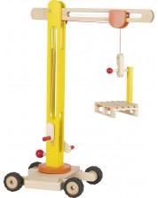 Дървена играчка Goki - Строителна машина, кран -1