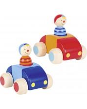 Дървена играчка Goki - Количка с човече и бибитка (асортимент)