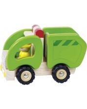 Дървена играчка Goki - Боклукчийски камион -1