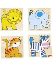 Дървена игра Goki - Каремо, със зебра, хипопотам, слон, тигър и лъв