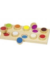 Дървена игра за памет Goki - Осезание