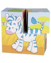Дървени кубчета Goki - Животни, четири части -1